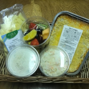 Meal  Deal 1. lasagna,  coleslaw,  potato salad ,Fresh Chip pack and fruit tub